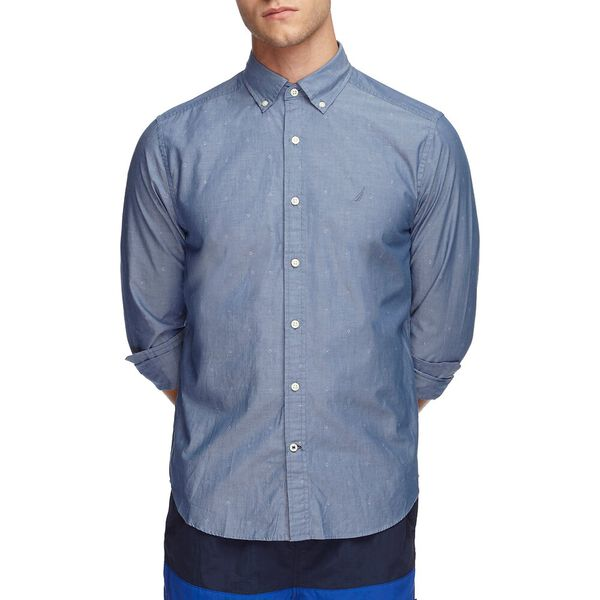DOBBY PRINT POPLIN LONG SLEEVE SHIRT, ENSIGN BLUE, hi-res