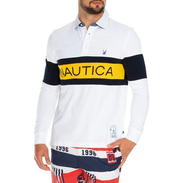 Nautica Logo Rugby Shirt, Bright White, hi-res