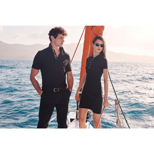 Above Knee Laura Chambray Collar Polo Dress, True Black, hi-res