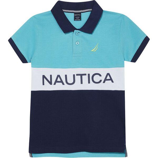 Boys 3 -7 Aden Colourblock Polo, Blue/Navy, hi-res