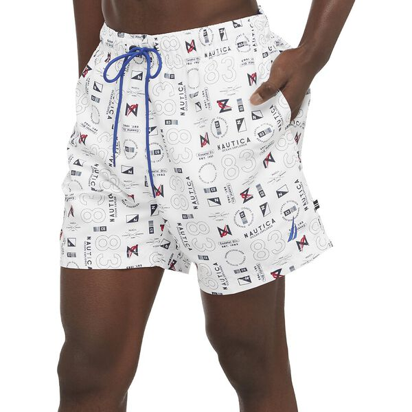 """Sustainably Crafted 6"""" Graphic Printed Full Elastic Swim Shorts, Bright White, hi-res"""