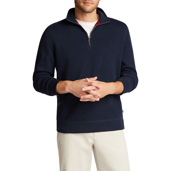 French Rib Half Zip Sweater, Navy, hi-res