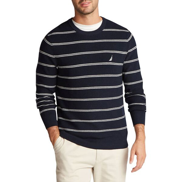 Double Stripe Crewneck Navtech Sweater, Navy, hi-res