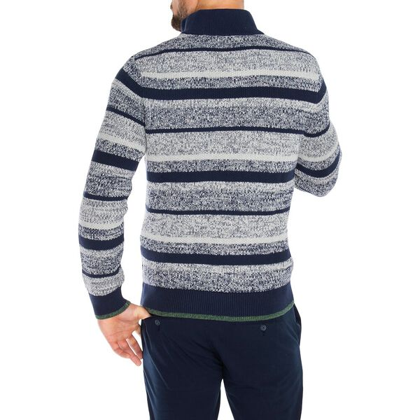 1/4 Zip Stripe Mock Neck Sweater, Navy, hi-res