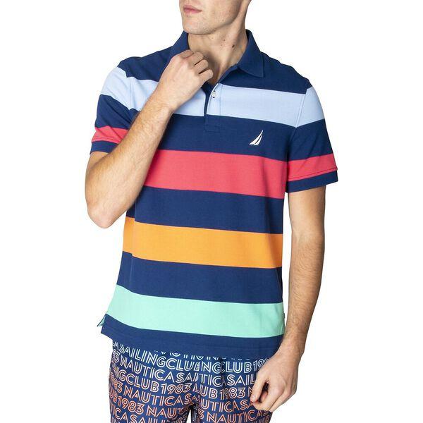 Navtech Summer Pastel Stripe Polo, Estate Blue, hi-res