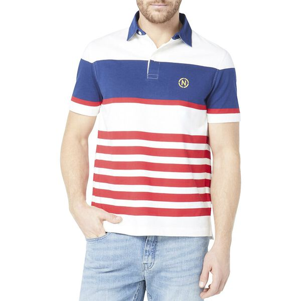 Classic Fit Jeans Co. Engineered Gradient Stripe Polo, Sail White, hi-res