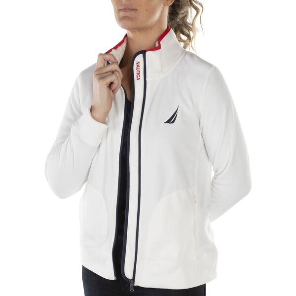 PLACKET EMBROIDERY BRUSHED FLEECE JACKET