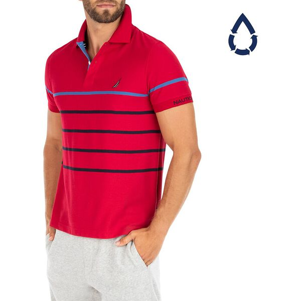 Sustainably Crafted Colour Stripe Polo, Nautica Red, hi-res