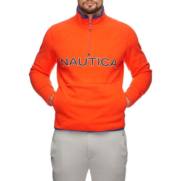 NAUTEX CONTRAST POINT QUART-ZIP FLEECE, ORANGE POPPY, hi-res