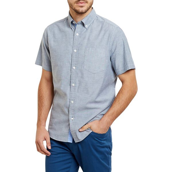 SHORT SLEEVE OXFORD CLASSIC FIT SHIRT, NAVY, hi-res