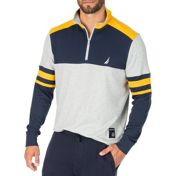 Banded Rugby Inspired Sweater, Grey Heather, hi-res