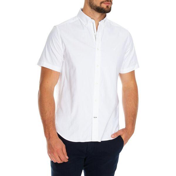 Blue Sail Short Sleeve Solid Oxford Shirt, Bright White, hi-res