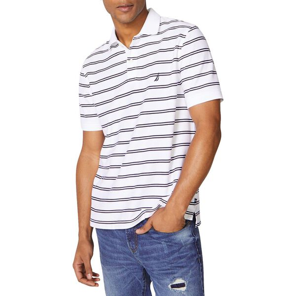 Performance Classic Fit Stripe Deck Polo, Bright White, hi-res