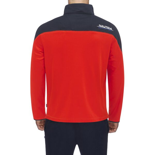 Nautica Competition Shoulder Piece Zip Sweater, Fiery Red, hi-res