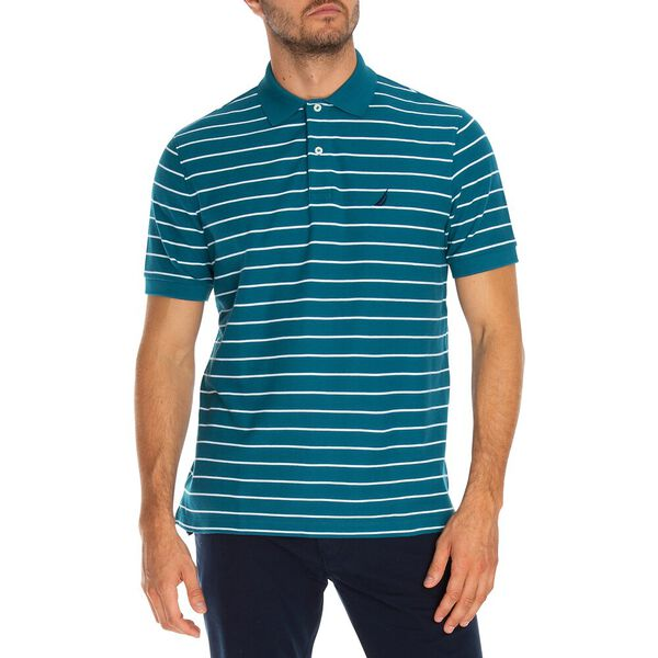 STRIPED CLASSIC FIT DECK POLO, BLUE CORAL, hi-res