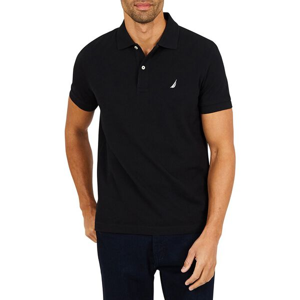 SLIM FIT INTERLOCK POLO, TRUE BLACK, hi-res