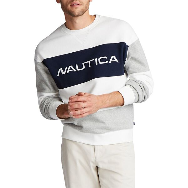 Nautica Fleece Blocked Crew Sweater