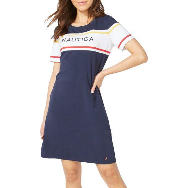 Nautica Logo Stripe Knit Dress Navy