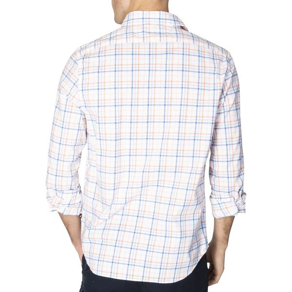 Slim Fit Navtech Plaid Long Sleeve Shirt, Bright White, hi-res