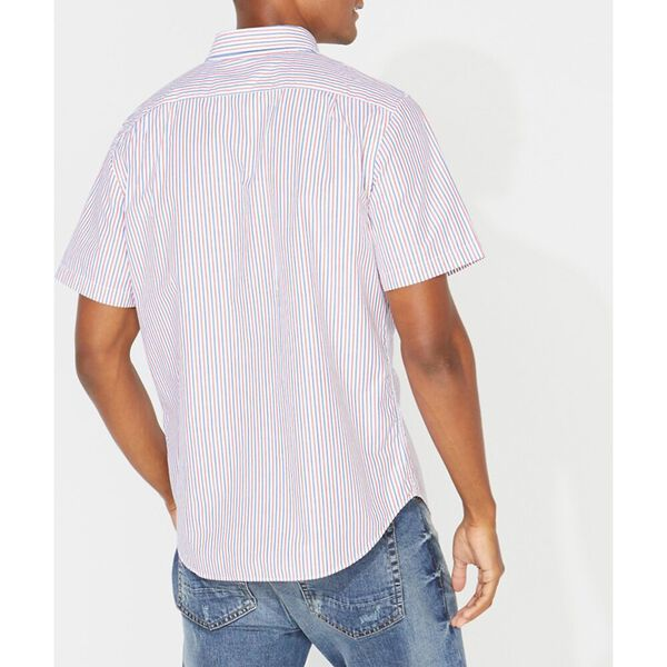 Classic Fit Striped Oxford Shirt, Bright White, hi-res