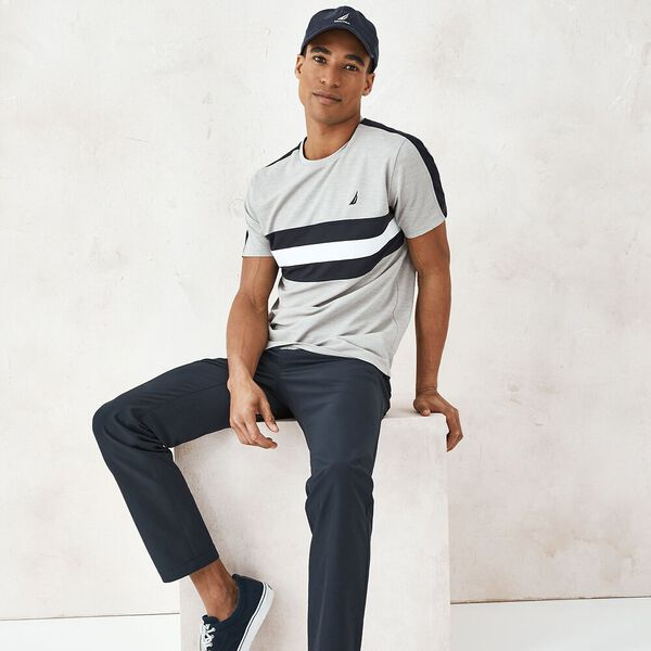 Sustainably Crafted Classic Fit Band Stripe Tee, Grey Heather, hi-res