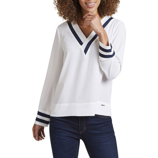 V - NECK TIPPED LONG SLEEVE TOP, MARSHMELLOW, hi-res
