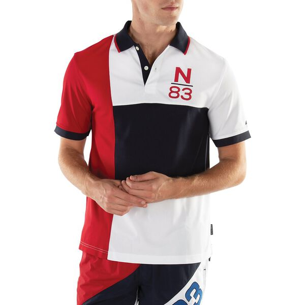 Classic Fit Pieced N-83 Performance Polo, Navy, hi-res