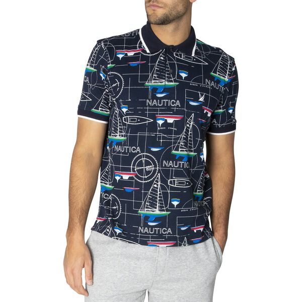 Nautica Blue Print Polo Shirt, Navy, hi-res