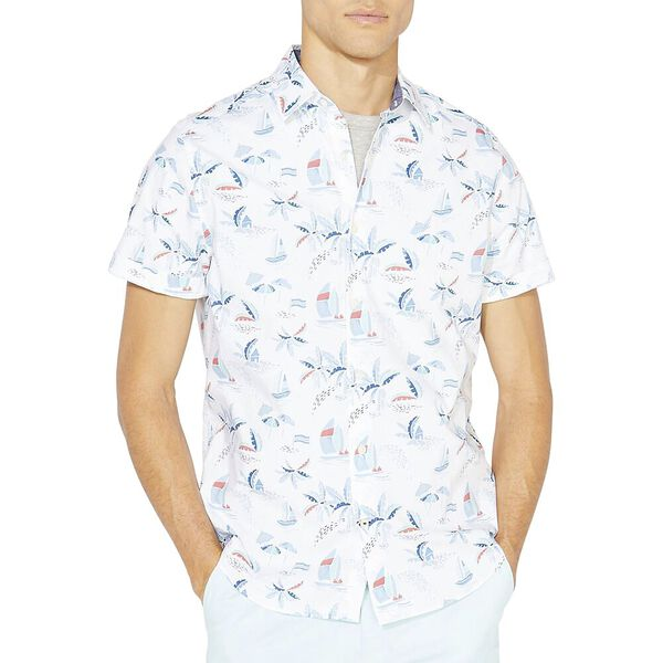 Classic Fit Short Sleeve Printed Shirt, Bright White, hi-res