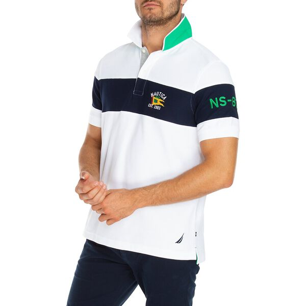 Chest Stripe Polo, Bright White, hi-res