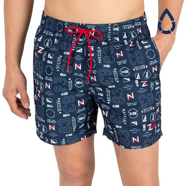 "Sustainably Crafted Nautica Print 6"" Swim Shorts"