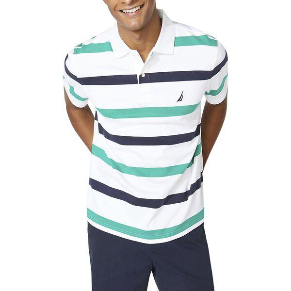 Classic Fit Premium Cotton Stripe Polo, Bright White, hi-res