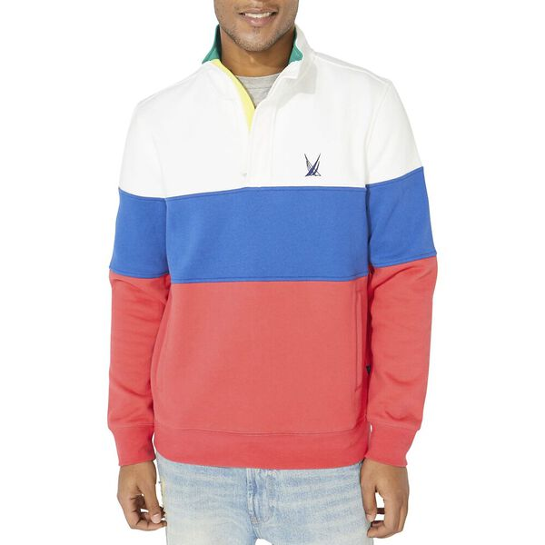 Heritage Blocked 1/4 Zip Pullover Sweater, Sail White, hi-res
