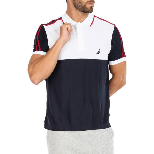 Sustainably Crafted Colourblock Polo, Bright White, hi-res