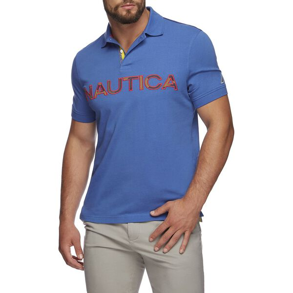 KAUAI LOGO PANEL SHORT SLEEVE POLO, BOLT BLUE, hi-res