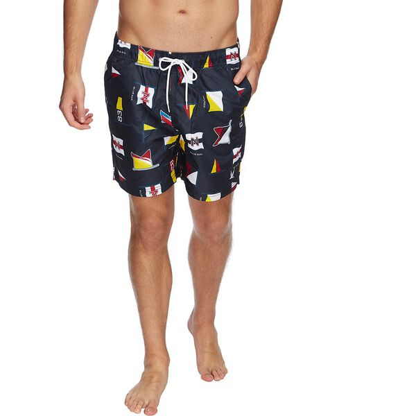 QUICK DRY BLUE SAIL FLAG PRINTED SWIM SHORTS