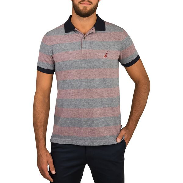 STRIPED SHORT SLEEVE POLO, ROYAL BURGUNDY, hi-res