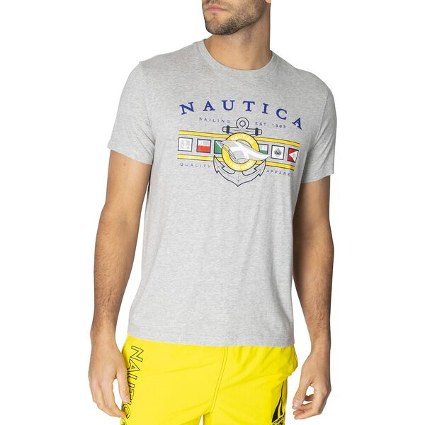 Short Sleeve Flags And Anchor Tee, Grey Heather, hi-res
