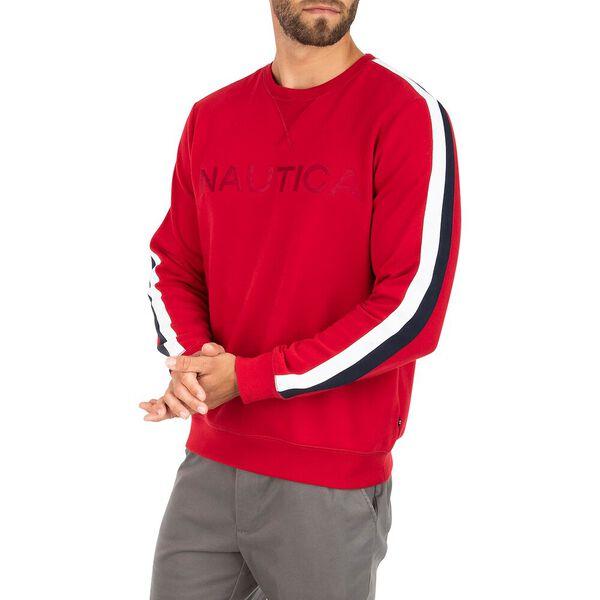 Vintage Fit Nautica Logo Crew Neck Sweater, Nautica Red, hi-res