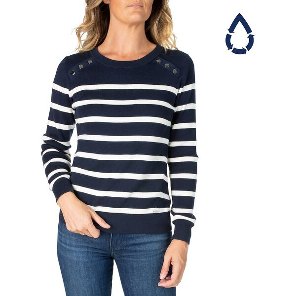 Sustainably Crafted Button Up Striped Sweater, Navy, hi-res