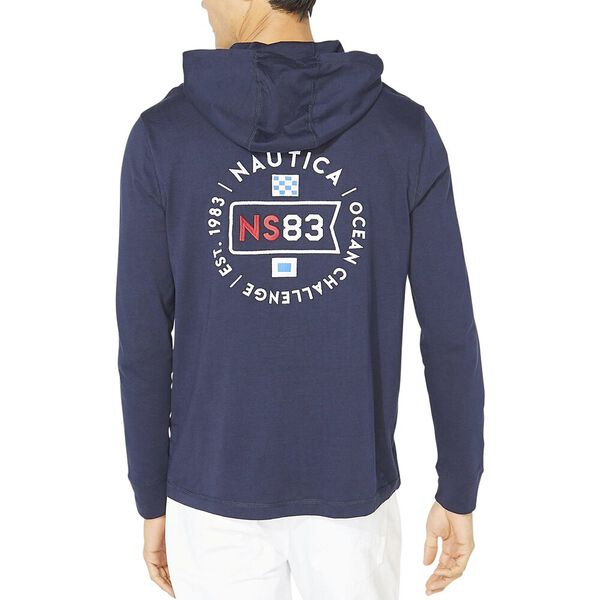 Graphic Pullover T-Shirt Hoodie, Navy, hi-res