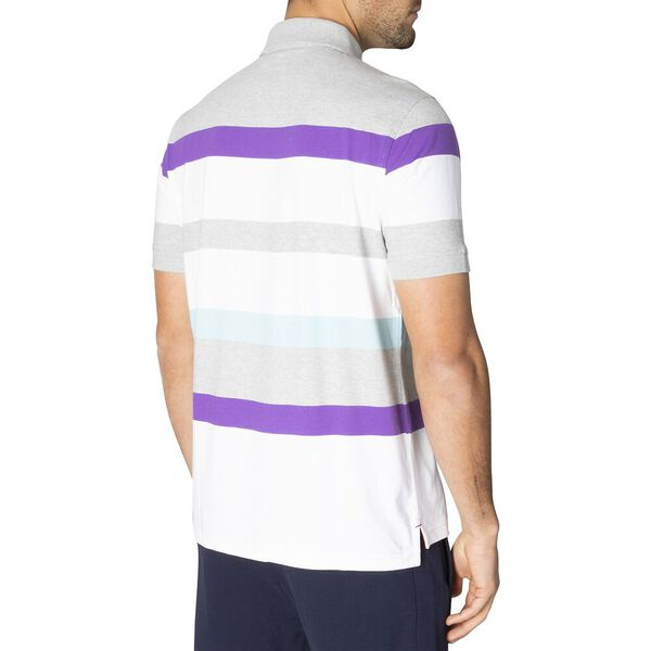 Engineered Stripe Polo, Grey Heather, hi-res