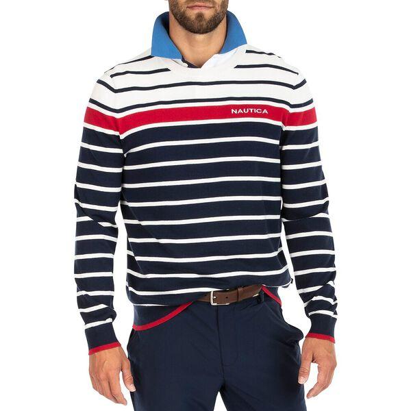 Tricolour Striped Crew Neck Sweater, Navy, hi-res