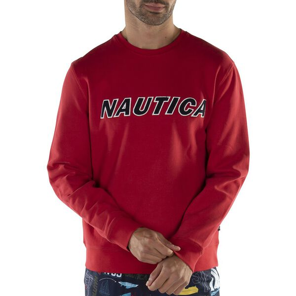 Fleeced Graphic Crew Sweater, Nautica Red, hi-res