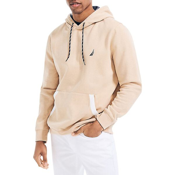 Classic Fit Tipped Branded Hoodie, Sandy Bar, hi-res