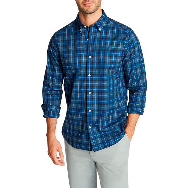 Classic Fit Wrinkle Resistant Shirt In Deep Plaid, Ensign Blue, hi-res