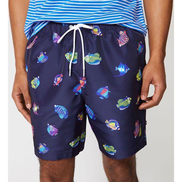 "Big & Tall 18"" Tropical Fish Print Swims, Navy, hi-res"