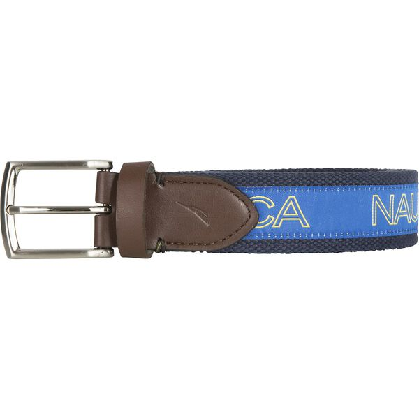Nautica Logo Ribbon Overlay Belt, Navy, hi-res