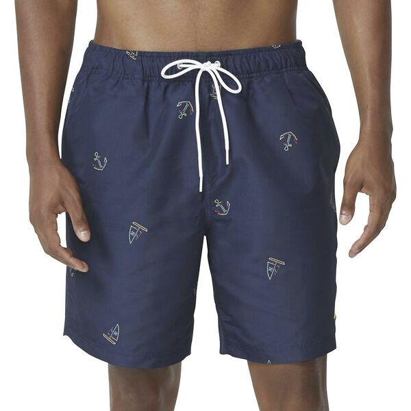 Sail Away Print Swim Shorts, Navy, hi-res