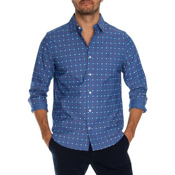 Wrinkle Resistant Boat Print Shirt, Limoges, hi-res